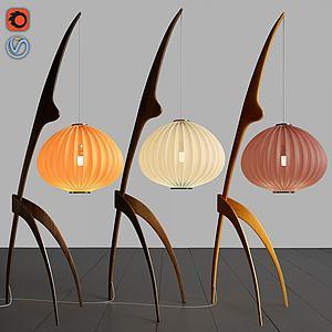 新中式燈籠式臺燈落地燈3d模型