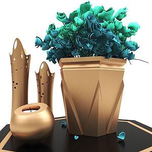 現代桌面擺件花束3d模型