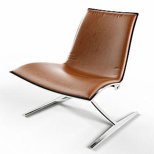 現代真皮休閑椅3d模型