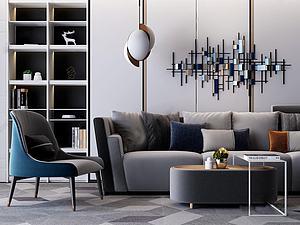 現代多人沙發休閑椅模型3d模型