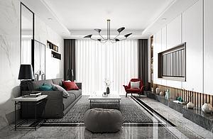 现代客厅3D模型3d模型
