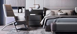 現代奢華雙人床休閑椅組合模型3d模型