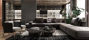 精品高級黑現代客廳模型模型3d模型