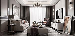 輕奢簡歐客廳模型3d模型