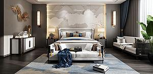 新中式臥室下載模型3d模型
