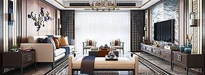 精品輕奢新中式客廳模型3d模型
