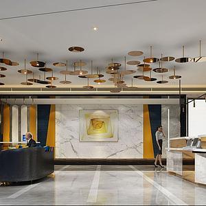 精品酒店客房走廊過道3d模型