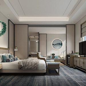 新中式客房3d模型
