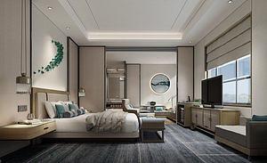 新中式客房模型3d模型