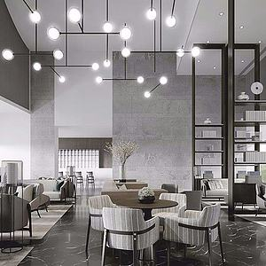 新中式售樓處休閑區3d模型