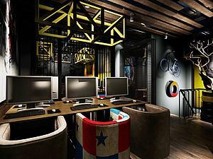 網吧室內設計模型3d模型