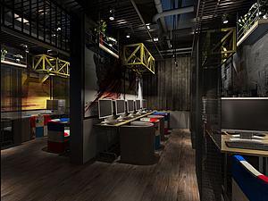網吧室內模型3d模型