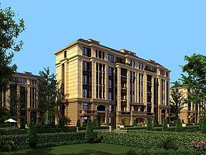欧式多层透视住宅小区配景模型3d模型