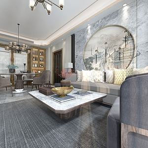 超現代客廳3d模型