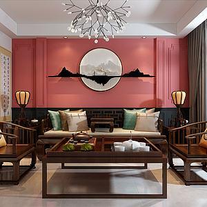 中式客廳3d模型