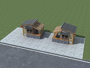 中式小卖部模型3d模型