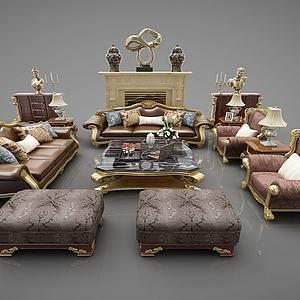 歐式沙發組合3d模型