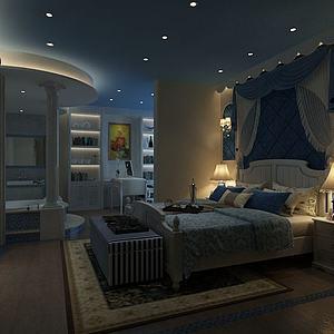 地中海夜景臥室3d模型