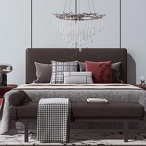 臥室雙人床及背景墻3d模型