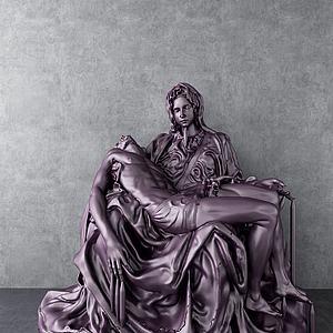 圣母雕塑3d模型