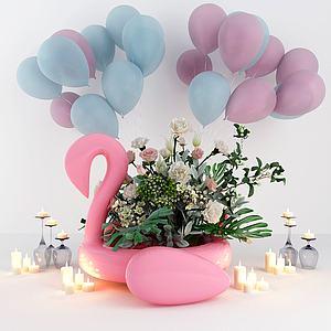 網紅花氣球3d模型