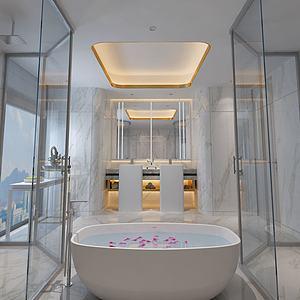 美式臥室衛生間3d模型