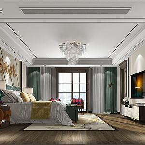 美式臥室3d模型