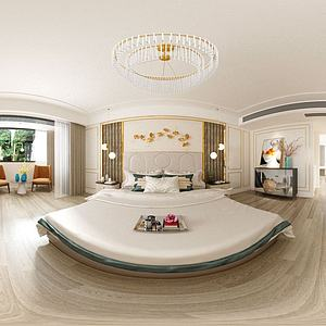 美式臥室全景3d模型