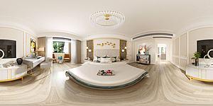 美式臥室全景模型3d模型