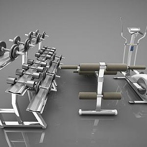 健身房健身器材3d模型