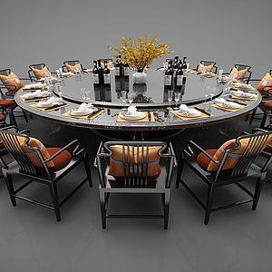 中式圆形大餐桌3d模型