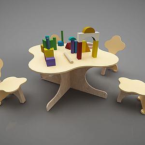 幼儿园儿童桌椅玩具组合3d模型