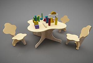 幼兒園兒童桌椅玩具組合模型3d模型