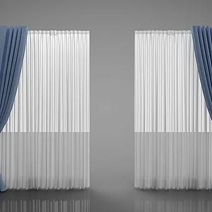 现代窗帘纱帘3d模型