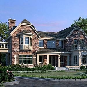 美式獨棟別墅3D模型3d模型