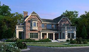 美式独栋别墅3D模型模型3d模型