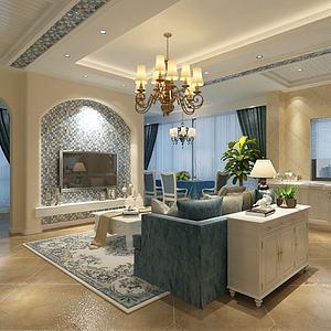 地中海客廳3d模型