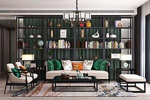 新中式客廳沙發茶幾模型3d模型
