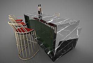 吧台模型3d模型