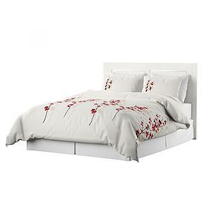 現代小紅花被套雙人床模型3d模型
