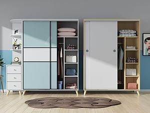 實木衣柜,模型3d模型