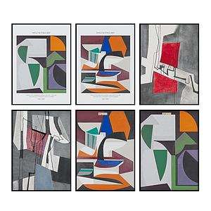 現代幾何圖形掛畫抽象壁畫3d模型
