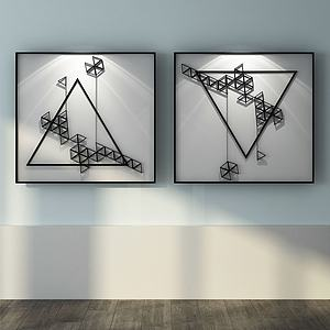 現代幾何抽象掛畫3d模型