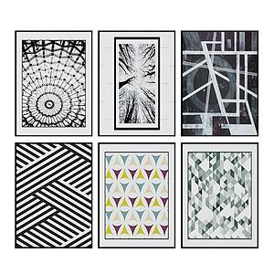 現代幾何圖案掛畫裝飾畫3d模型