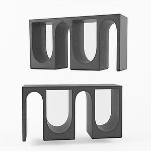 現代不規則咖啡桌邊桌3d模型