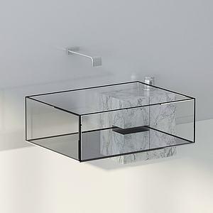 現代衛浴玻璃洗手臺水龍頭3d模型