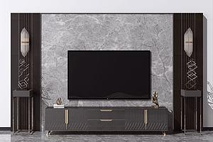 新中式电视背景墙模型3d模型