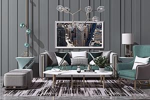 现代轻奢沙发茶几模型3d模型
