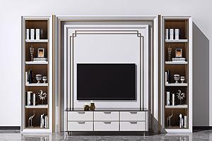 电视柜电视背景墙模型3d模型