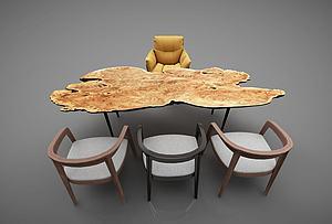 茶桌椅組合模型3d模型